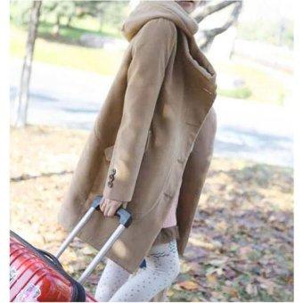 Cyber Women's Super Stylish Wool Blend Warm Long Coat Jacket Overcoat (Khaki) - intl