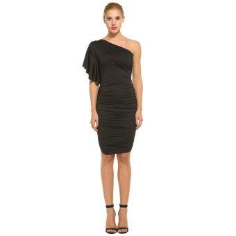 Linemart Women Sexy Oblique Collar One Shoulder Solid Pleated Party Cocktail Dress ( Black ) - intl