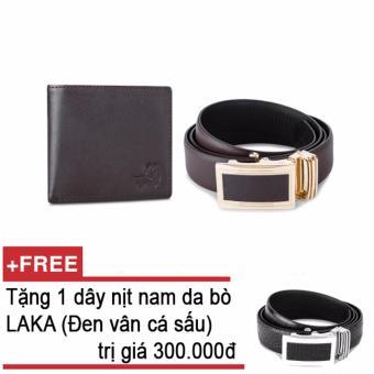 Bộ ví và thắt lưng nam da bò thật LAKA nâu trơn + Tặng 01 thắt lưng nam da bò LAKA (Đen vân cá sấu) trị giá 300000