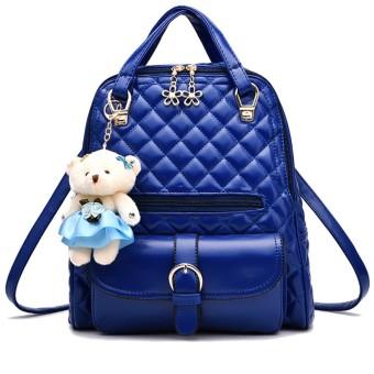 Women Ladies 3 in 1 PU Leather Casual Outdoor Travel Tablet Bag Handbag Backpack Shoulder Bag with Bear Pendant and Petal Shape Zipper Royal Blue