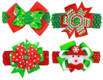 niceEshop 4pcs Girls Grosgrain Christmas Hair Bows Hair Clips Beautiful Christmas Decoration - intl