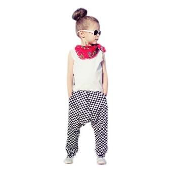Girls Outfit Clothes Vest shirt Tops+Plaid Haren Long Pants Trousers - intl
