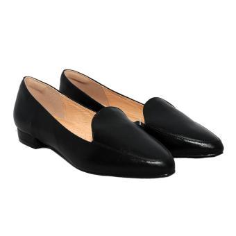 Giày nữ thấp da bò thật màu đen ESW24