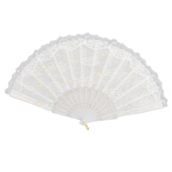 Chinese Lace Trim Hand Fan (White) - Intl