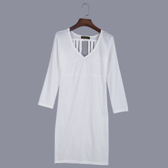 Ladies Polyester Bandage Sheathy Bodycon Dress (White) - intl