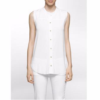 Áo blouse nữ Calvin Klein cao cấp xếp li thân sau (màu trắng)