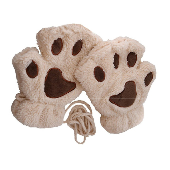 1 Pair Cute Women Bear Cat Paw Pattern Cashmere Half-finger Winter Gloves Beige