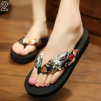 Bluelans Women Summer Bohemian Soft Beach Sandals 10 (Black) - intl