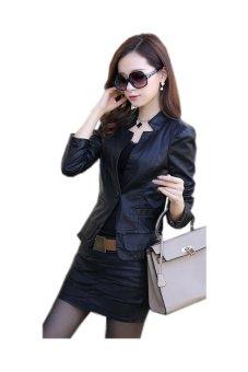 Áo khoác vest da nữ (Đen)
