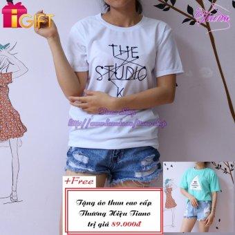 Áo Thun Nữ Tay Ngắn In Hình The Studio K.. Năng Động Tiano Fashion LV156 ( Màu Trắng ) + Tặng Áo Thun Nữ Tay Ngắn In Hình Sis Golam Coopeaon Phong Cách Tiano Fashion