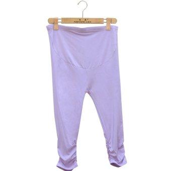 Summer Maternity Pants Adjustable Capri Leggings Pregnant Women Clothes Comfortable Leggings (Purple) - intl