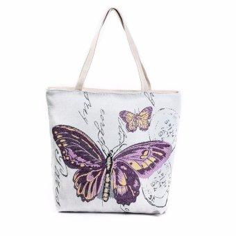 Butterfly Printed Canvas Tote Casual Beach Bags Women Shopping Bag Handbags - intl