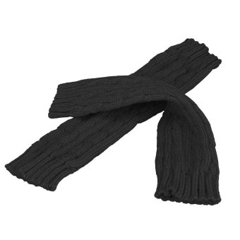 Knitted Arm Fingerless Winter Gloves Unisex Soft Warm Mitten Black - Intl