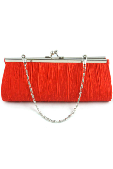 Women Lady Satin Evening Party Wedding Purse Clutch Handbag Single Shoulder Bag Small Hasp Coin Purse with Chain Red (Intl)
