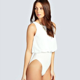 Sunweb Women Sexy One Piece Swimwear Sleeveless Chiffon Patchwork Solid Beach Wear Bodysuit ( White ) - intl