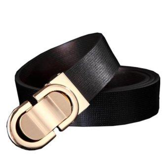 Thắt lưng dây đen mặt vàng thời trang THTL08