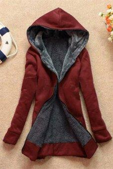 LALANG Women's Warm Cotton Hoodie Fleece Coats Outerwear Jackets Wine Red - Intl