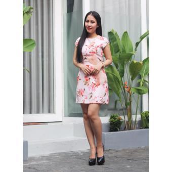 Đầm họa tiết hoa hồng nhạt Cocoxi 17DT57HVX