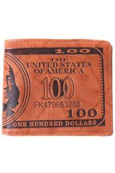 LALANG Men US Dollar Bill Wallet Brown PU Leather Bifold Credit Card Photo Holder - Light Brown - intl