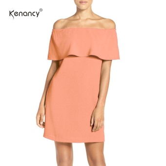 Kenancy Wemans Off The Shoulder Ciffon Flirty Ruffle Cocktail Party Wedding Evening Shift Dress - intl