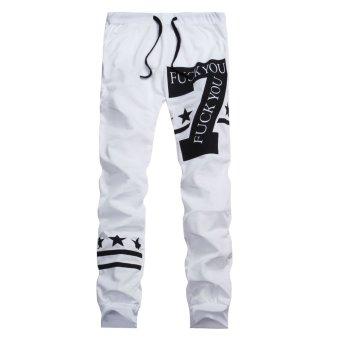 PODOM Mens Casual Jogging Hip Hop Sweatpants Harem Pants Dance Sportwear Gym Slacks White - Intl