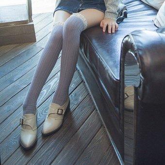 Women Crochet Lace Cotton Knit Footed Leg Boot Cuffs Socks Knee High Stockings Light Gray - intl