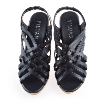 Ladies Checkered Wedge Heel Shoes Hollow Pointed Toe (Black) - intl