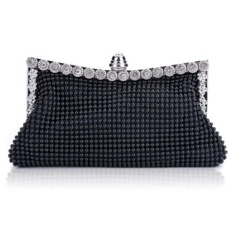 Linemart New Clutch Casual Women's Handbag Lady Party Crystal Evening Bags ( Black ) - intl