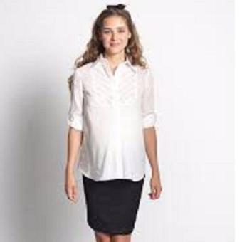 MEV Áo sơ mi bầu thun, tay dài, xếp ly ngực Mothers En Vogue - Soft Jersey Shirt - M - White