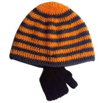 Baby Child Fashion Winter Warm Soft Knitting Wool Stripe Unisex Detachable Beard Hat Cap Color D - intl