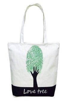 HKS Canvas Fingerprint Tree Pattern Shopping Shoulder Bags Handbag Beach - intl