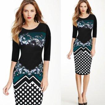 Kenancy Women Elegant Printing Dress Fashion Polka Dot Retro Style Half Sleeve Sheat Dress(Green) - intl