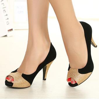 Giày cao gót hở mũi 1132X (Đen)