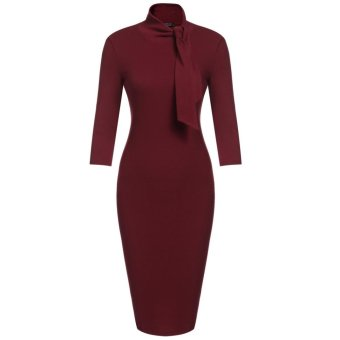 Linemart Women's Bow Turtleneck 3/4 Sleeve Solid Bodycon Evening Party Knee Pencil Dress ( Wine Red ) - intl