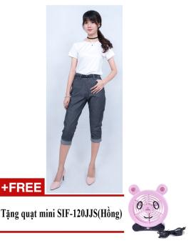 Quần bó legging nữ thời trang ZASKIN ZA04Q5 (Xanh Navy) + Tặng quạt mini shinil SIF-120JJS (Hồng)