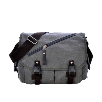 Men Boy Cotton Canvas Casual Shoulder Bag Crossbody Messager Bag Tablet PC Carry Bag Travel School Bag Grey
