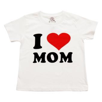 Áo Thun Bé Gái I Love Mom (Trắng)
