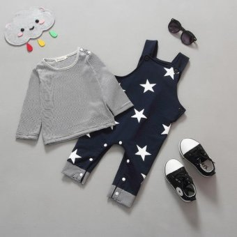 Baby Boys Pants Sets Stripe T-shirt Top Bib Pants Overall Outfits - intl