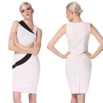 Linemart Angvns Stylish Lady Women's Fashion Sleeveless Irregular Neck Sexy Slim Casual Dress ( White ) - intl