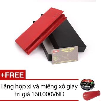 Ví cầm tay nữ da thật Da Giày Việt Nam VNLLDT10AZA12Q (Đỏ) + Tặng hộp xi và miếng xỏ giày