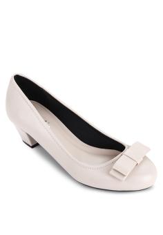 Giày Bít Tròn Nơ Nhỏ Gót Thô 3cm (Kem)
