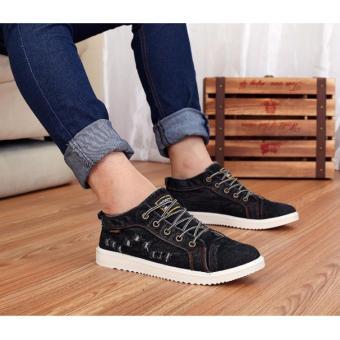 Giày nam bata vải jean rách SM069 (Đen)