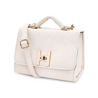 Túi xách tay dây đeo da sần khóa kim loại TX6868-02-100 (Trắng)