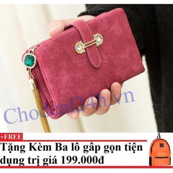 Ví cầm tay ngắn Sang trọng CDVN01 (hồng) + Tặng kèm balo du lịch gấp gọn