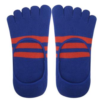 Stripes Cotton Five Fingers Toe Sock Invisible Socks for Men Blue - - intl