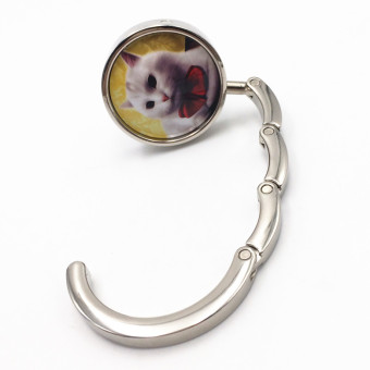 Porcelain Round Folding Handbag Purse Hanger Table Hook Yellow Cat - Intl