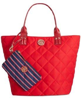 Túi đỏ cao cấp nữ Tommy Hilfiger Nylon Tote Shoulder Bag (Mỹ)