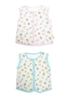 Bộ 2 áo khỉ bông trẻ em Nanio A0002-Hxd (Hồng Xanh Đậm)