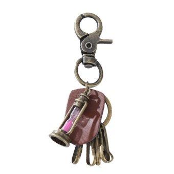 YYS057 New Punk Men Retro Leather Alloy Keychain Keyring Decoration Pendant(Red) - intl