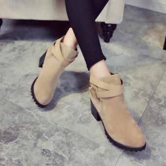 Women Winter Snow Ladies Low Heel Ankle Belt Buckle Martin Boots Shoes - intl